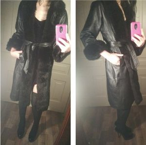 Vintage real leather & fur long coat VTG